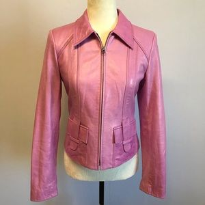 David Meister Moto Leather Jacket Lavender Sz 4/S